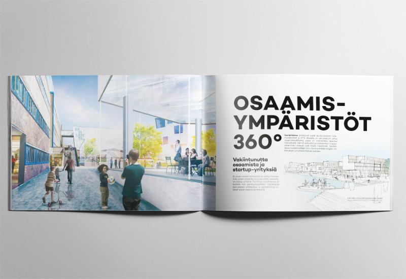 Työnäyte: Kuopion kaupunki, Savilahti, graafinen ilme, brändäys