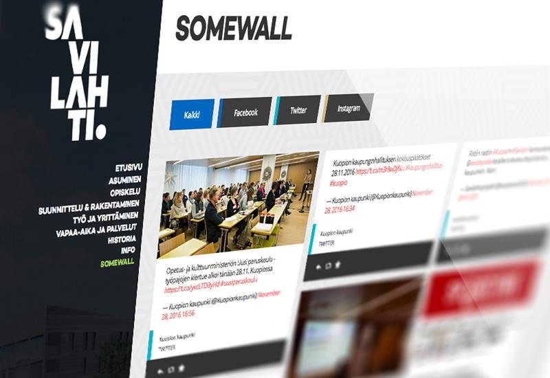 Työnäyte: Kuopion kaupunki, Savilahti, someseinä, somewall, digimarkkinointi, sosiaalinen media