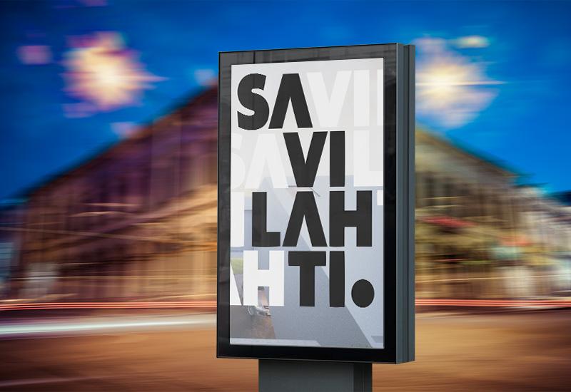Työnäyte: Kuopion kaupunki, Savilahti, visuaalinen ilme, ulkomainos, ulkomainonta