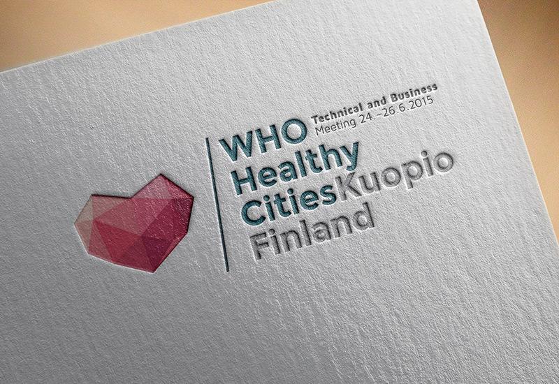 Työnäyte: Who Healthy Cities, logo, graafinen suunnittelu