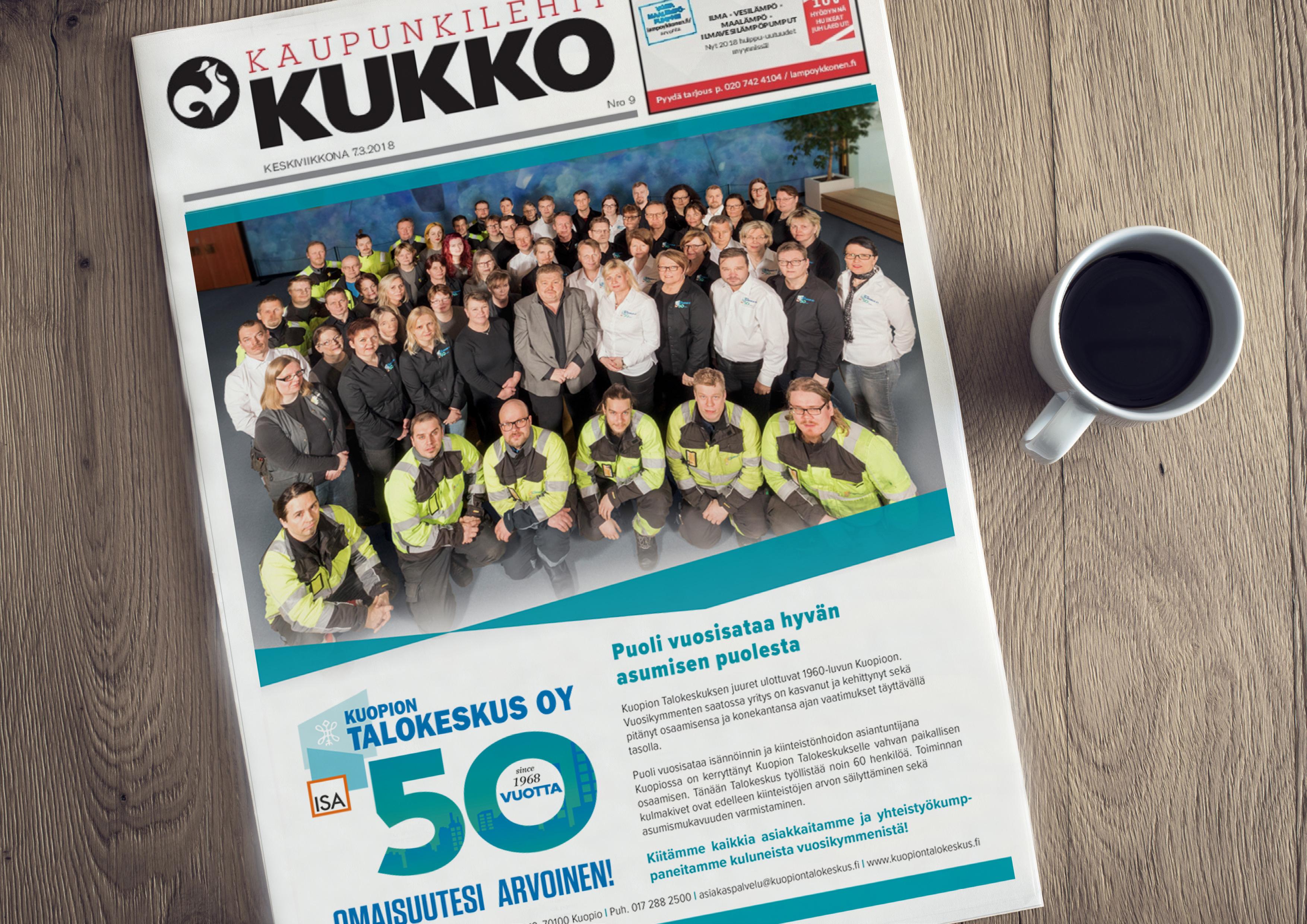 Työnäye: Kuopion talokeskus, lehtimainos, kaupunkilehti kukko